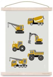 Poster Kinderkamer Voertuigen A3 Formaat