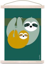 Poster Kinderkamer Luiaard Groen - Okergeel