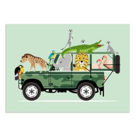 Poster Kinderkamer Dieren op Jeepsafari Mint