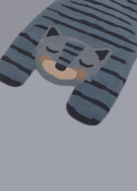 Vloerkleed Kinderkamer Wol Blue Tiger