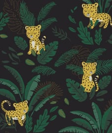 Wallpaper- Cheetah & Tropical Leaves By Night Lilipinso