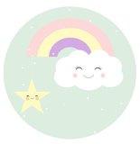 Muurcirkel Kinderkamer Wolk met Regenboog Pastel