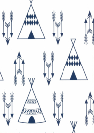 Behang Kinderkamer Tipi Wit-Blauw Fabsworld