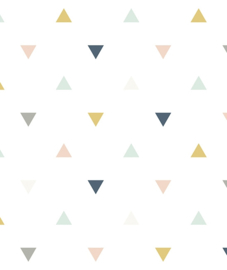 Behang Kinderkamer Triangles Pink Mustard Grey