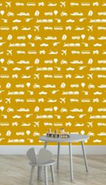 Behang Kinderkamer Voertuigen Okergeel Designed4kids