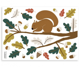 Muurstickers Kinderkamer Squirrel and Leaves