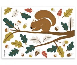 Muurstickers Kinderkamer Squirrel and Leaves