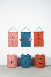 Wandorganizer Canvas Animal Club Rouge Jollein