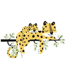 Muursticker Kinderkamer XL Cheetah Family Lilipinso