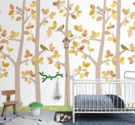 Inke XL Muurprints Behang Kinderkamer Bos (oktober grijs)