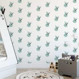 Behang Kinderkamer Bunny Mintgroen