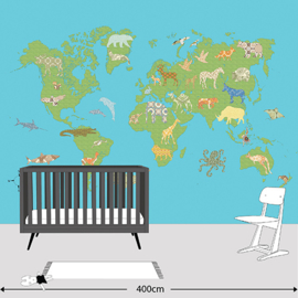 XL Muurprint World Map Inke