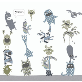XL Muurprint Stack-O-Monsters Blue