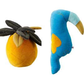 Combi Deal Knuffel Kussens Pineapple en Toekan Velvet Wigiwama