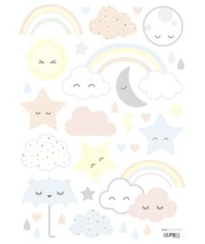 Muurstickers Kinderkamer Clouds, Stars , Rainbow laughing