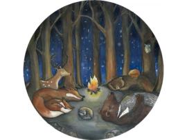 Hartendief Dieren in het bos Behang cirkel