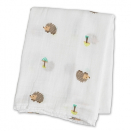 Swaddle Lulujo 120x120 katoen - Happy Hedgehog