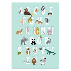 Poster Kinderkamer Alfabet Dieren Blauw