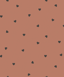 Behang Kinderkamer Black Hearts Terracotta Lilipinso