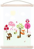 Poster Kinderkamer Forest Friends Roze