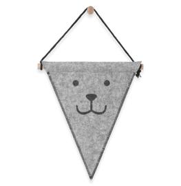 Kinderkamer Vlag felt Bear Grey van Jollein