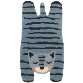 Vloerkleed Kinderkamer Wol Blue Tiger