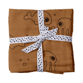 Swaddle Hydrofiele Doek Sea Friends Mustard 2-Pack Done by Deer