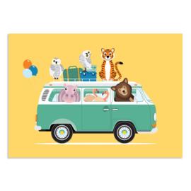 Poster Kinderkamer Volkswagen met Dieren Geel