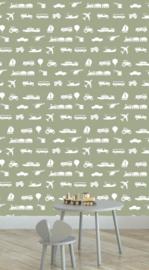 Behang Kinderkamer Voertuigen Army Green Designed4kids