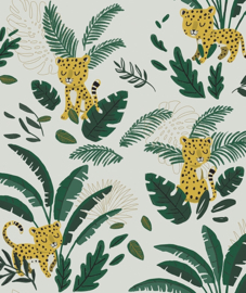 Wallpaper- Cheetah & Tropical Leaves (Light Green Background) Lilipinso