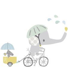 Muursticker XL Kinderkamer Lilipinso: Olifant op de fiets