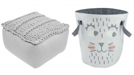"Kinderkamer poef ""Square Grey"" en 1 opbergmand ""Ralph The Cat"""