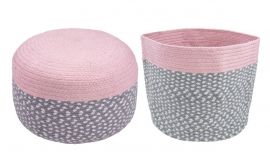 """Kinderkamer poef """"Roundy Pink"""" en 1 opbergmand """"Roundy Pink"""""""
