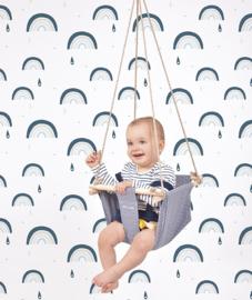 Wallpaper Seamless Pattern with Rainbows Blue Mood Lilipinso