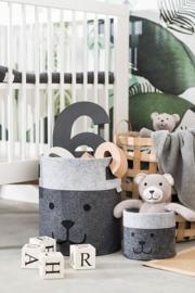 Opbergmand Kinderkamer Felt Bear Grey S van Jollein