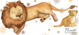 Muurstickers Kinderkamer Grote en Kleine Leeuw