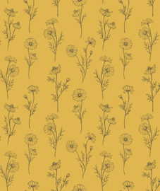 Wallpaper Seamless Pattern with Chamomile Flowers Yellow Background Lilipinso