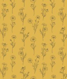 Wallpaper Seamless Pattern with Chamomile Flowers Yellow Background Lilipinso