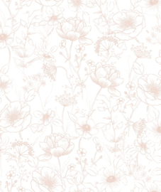 Behang Kinderkamer Botanical Flowers Roze