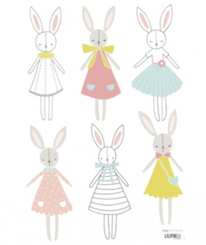 Muurstickers Kinderkamer Rabbit Girl van Lilipinso