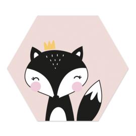 Muurhexagon Kinderkamer Prinses Vos Roze
