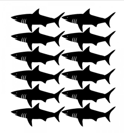 "Muurstickers Kinderkamer ""Sharks Black"""