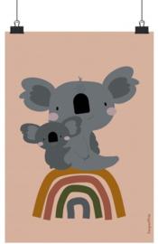Poster Kinderkamer Koala's op Regenboog