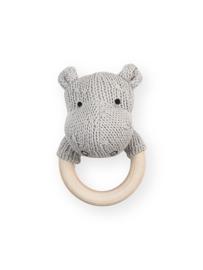Rammelaar / Bijtring Ø 7cm Soft Knit Hippo Light Grey