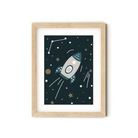 Poster Kinderkamer Raket A4 formaat