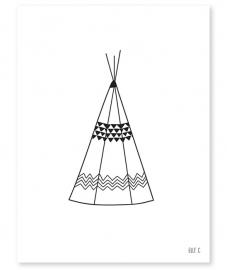 Poster kinderkamer Lilipinso: Tipi Black & White 30 x 40 cm