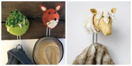 Wandhaakjes dierenkoppen