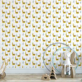 Behang Kinderkamer Lama Okergeel