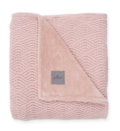 Deken River Knit Pale Pink /coral fleece 100 x 150cm Jollein