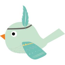 Muursticker Kinderkamer Indianen Vogel Mintgroen